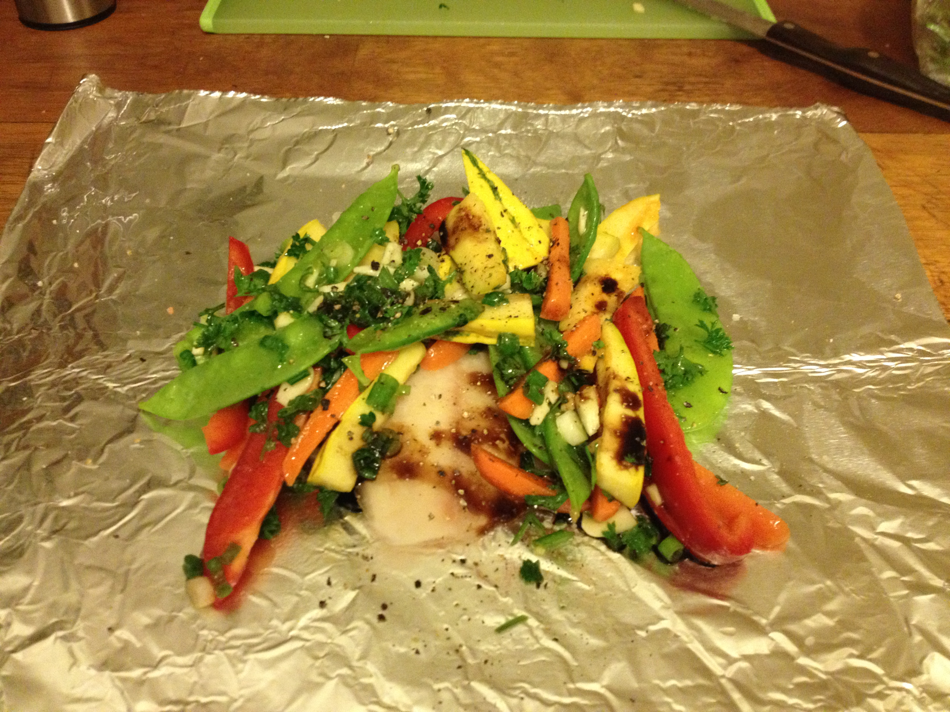 Foil baked tilapia with vegetables my favorite things for How to bake tilapia fish