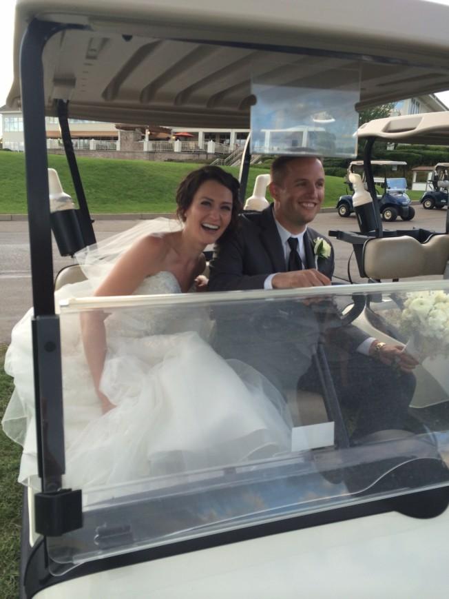 Betsy's wedding golf kart 1